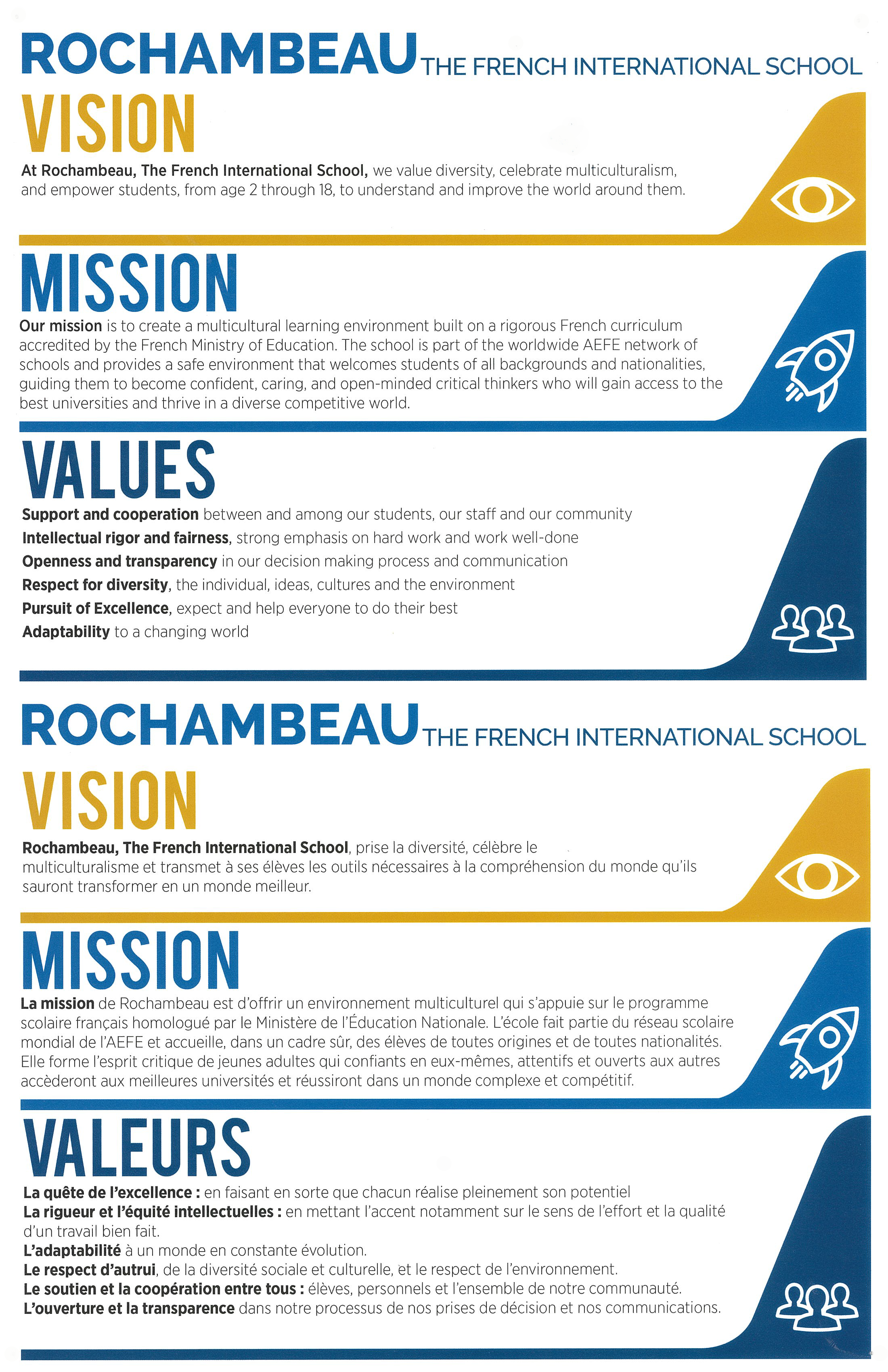 rochambeau french international school mission vision